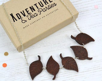 Wooden Leaves Necklace - autumn leaf necklace - wooden jewellery - gift for plant lover - stocking filler gift - plant lover's gift