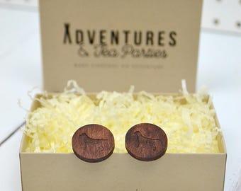 Rescue Dog Wooden Cufflinks - wooden jewellery - fifth wedding anniversary gift - dog cufflinks - 5th anniversary gift - wedding cufflinks