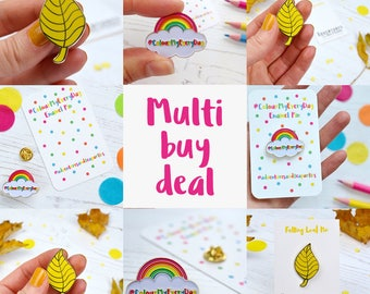 Multi buy deal - Set of pins - lapel pins - leaf pin - rainbow pin - heart brooch - yellow leaf brooch - wedding favours - gift for her