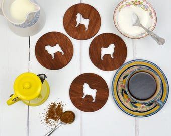 Pug Coasters - set of four - wooden dog coasters - housewarming gift - homewares - gift for pug owner - dog gift - dog homewares - pug gift
