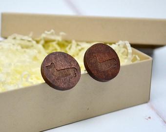 Wooden Dachshund Sausage Dog Cufflinks - wooden cufflinks - sausage dog gift - fifth wedding anniversary gift - dachshund gift - wooden gift