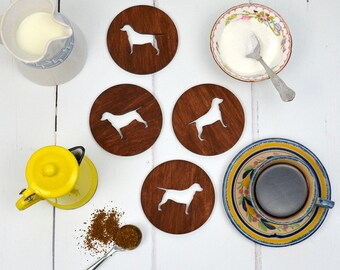 Rescue Dog Coasters - set of four - wooden coasters - housewarming gift - homewares - gift for dog owner - dog gift - dog homewares