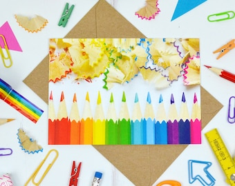 Rainbow Pencil Postcard - colourful postcards - colourful stationery - rainbow postcard - gift for stationery addict - stationery gifts