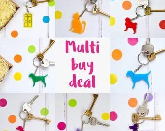 Multi buy deal - set of keyrings - key ring - key chains - housewarming gift - new home gift - acrylic keyrings - dog key ring - cat gift