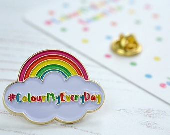 ColourMyEveryDay Pin - soft enamel pin - gift for colour lovers - adventuresandteaparties - rainbow pin brooch - cloud pin badge - lapel pin