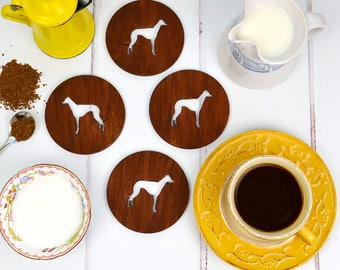 Wooden Dog Coasters - Gift for Greyhound Owner - Whippet Homeware Gift - Lurcher Owner Gift Ideas - Wooden Coasters - Gift for dog owner
