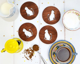 Wooden Cat Coasters - set of four - wooden coasters - housewarming gift - homewares - gift for cat lover - cat gift - cat homewares
