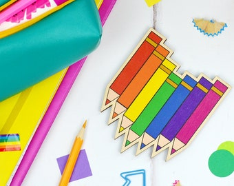 Wooden Pencil Coaster - wooden coasters - rainbow stationery - office gift ideas - gift for teacher - thank you gifts - desk accessories