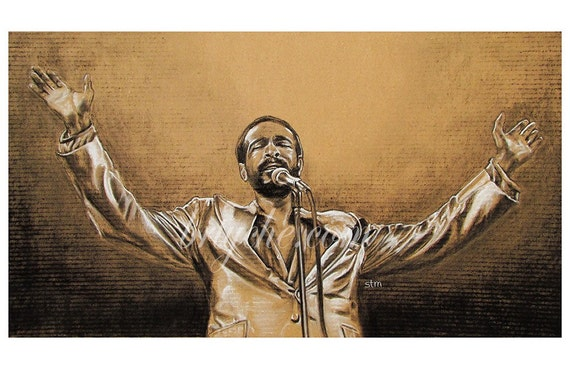 Marvin Gaye Painting Artwork Motown Canvas Giclee Print