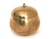 Vintage Brass Tea Urn, Lidded Brass Urn Vase, Decorative Round Lidded Tea Caddy, Boho Lidded Tea Jar, Bohemian Enameled Brass Ginger Jar
