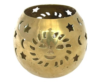 Vintage Brass Sun Star Moon Candle Holder, Tea Light Candle Holder, Wiccan, Pagan Alter Decor, Celestial Candle Decor, Witchy Decor, Goblet
