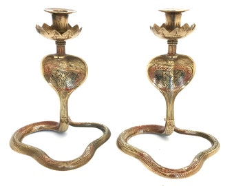 Superior Quality Vintage Cobra Candlesticks with Detailed Engraving