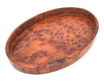 2 Vintage Carved wood snack candy bedside dresser trays pineapple shaped