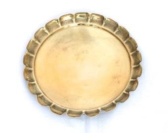 Vintage Brass Tray, Joseph Sankey & Sons 1900s Round Brass Serving Tray, English Brass Tray, Antique Solid Brass Tray, Display Tray