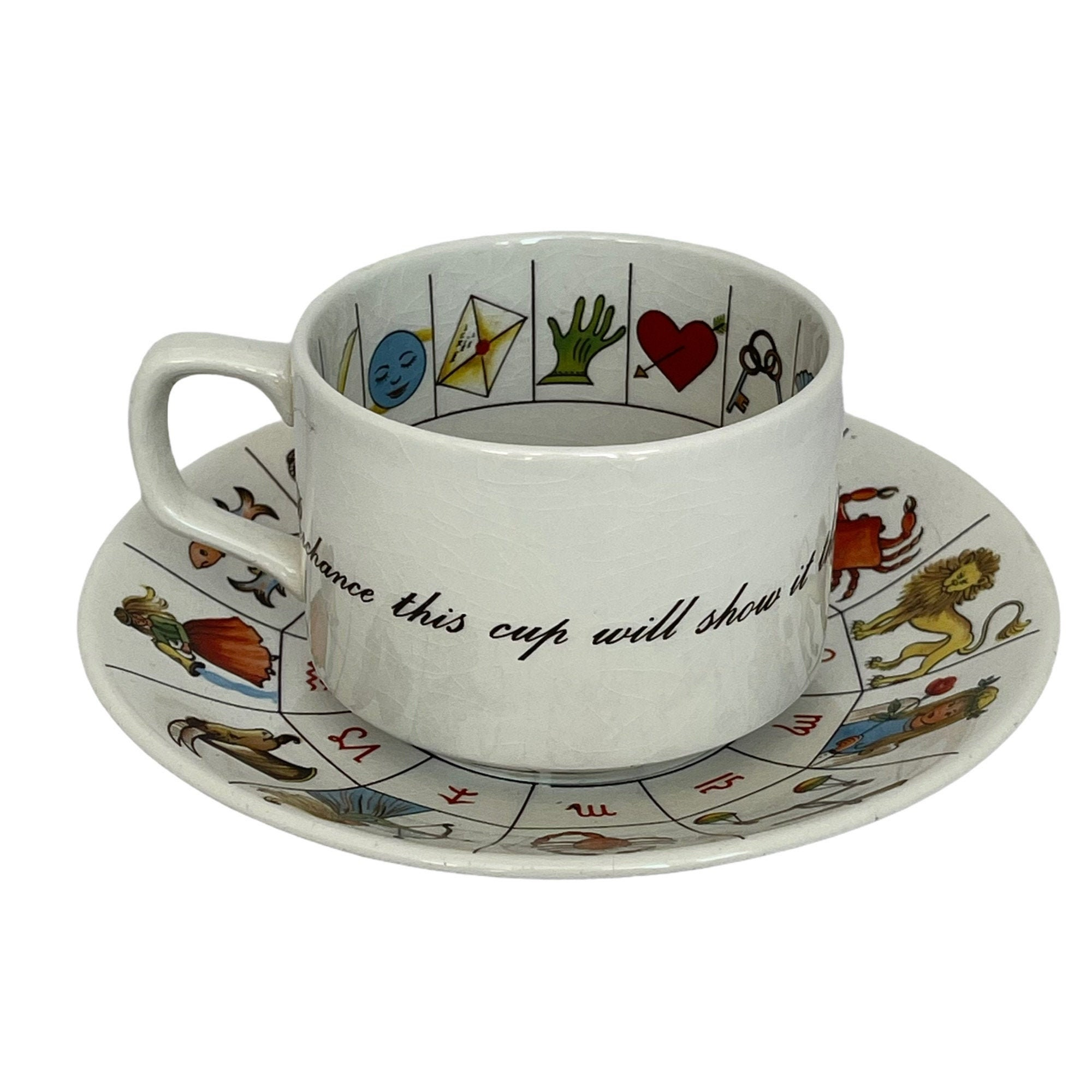 Vintage Jon Anton Fortune Telling Cup Saucer Ironstone Etsy Wallpaper tea cup book garlands leaves