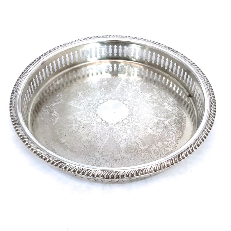 Vintage Silver Plated Gallery Tray 9 Round Silver Tray
