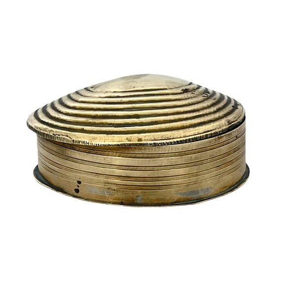 Vintage Brass Clam Shell Hinged Box Brass Shell Trinket Jewelry Box