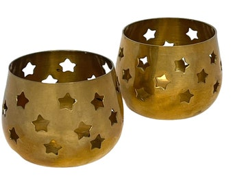 Vintage Pair of Small Brass Star Candle Holders, Tea Light Holder, Wiccan, Pagan Alter Decor, Witchy Decor, New Age, Occult, Celestial Star