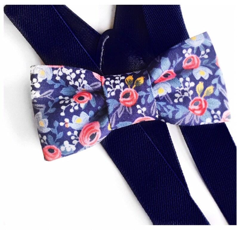 c45149e33a1 Blue floral bow tie   suspender setsuspendersbaby