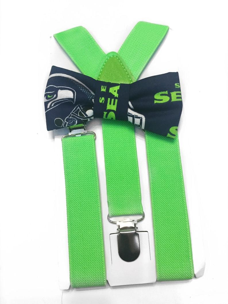 99a7b194463c NFL seattle seahawks bow tie & suspender setsuspendersbaby | Etsy