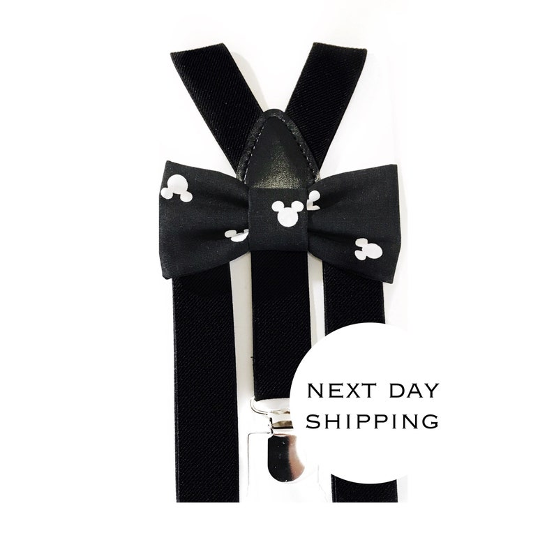 4957e18d2ab Black and white mickey mouse bow tie   suspender