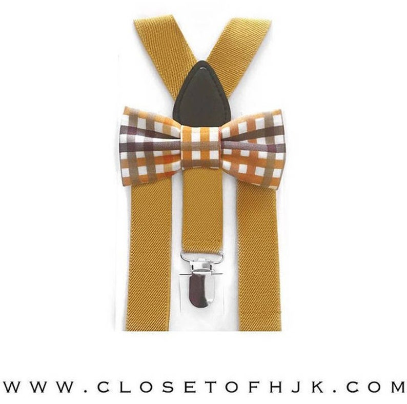 7e971ca6072 Mustard plaid fall bow tie   suspender setsuspendersbaby