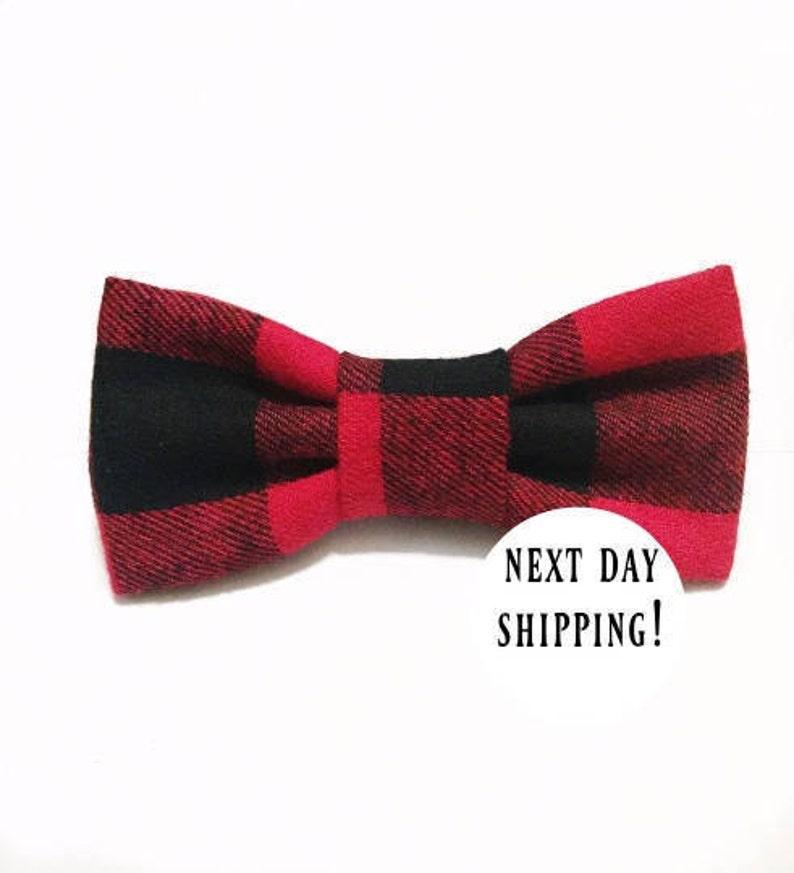 3072ebb8229 Black and red buffalo plaid bow tie-plaid bow-buffalo   Etsy