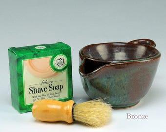 Shaving Skuttle - Men's Shaving Kit - Warm Lather Shaving Kit - Shaving Bowl - Old-Fashioned Shave Kit - Great Gift Idea for Dad!