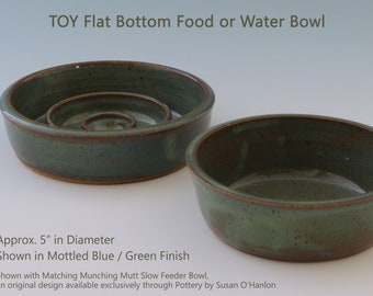 Pet Food or Water Bowl for TOY Dog or Cat - Ceramic Stoneware Handmade Pottery Available in Tan / Brick, Black / Blue, Green, Black / White