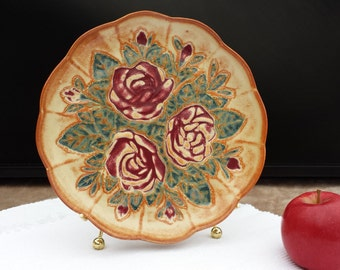 Handmade Plate Cabbage Rose Dinnerware Candy Dish Hors d'oeuvres Tray Home / Kitchen Decor Hand-Painted Stoneware Unique Gift Made to Order