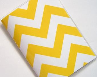 Chevron Passport Cover Case Holder -- Pure Yellow
