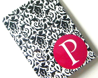 Custom Personalized Passport Holder Case Cover --  Black White Damask with Pure Magenta Circle