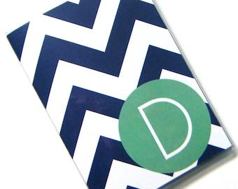 Custom Personalized Chevron Passport Holder Case Cover -- Denim Chevron with Misty Jade Circle