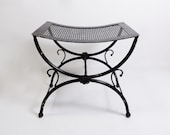 Antique Vintage Black Rustic Metal Curved Ottoman Chair