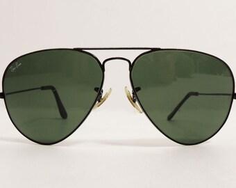 31f2c7259 Vintage Ray-Ban USA B&L Black Aviator Sunglasses