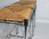 Postmodern Metal Stool Wicker rattan seat