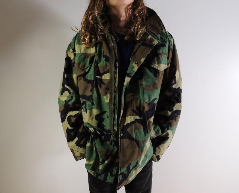 c9aecc493 1990s Military Woodland Camo Original M65 Field Jacket USA made Hunting  mens M