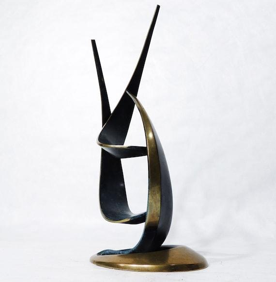 Original Abstract Art Object Bronze Sculpture by Bob Bennett signed