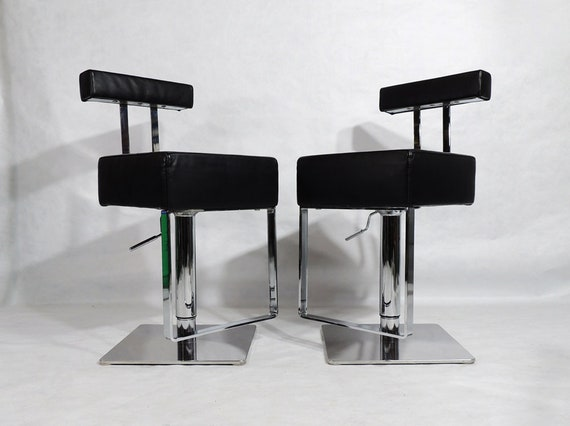 Incredible Postmodern Style Black Leather Chrome Adjustable Height Swivel Italian Bar Stool Dining Chairs Gmtry Best Dining Table And Chair Ideas Images Gmtryco