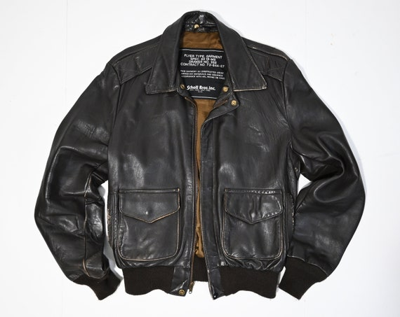Vintage Schott Bros Inc Brown Leather Bomber Jacke