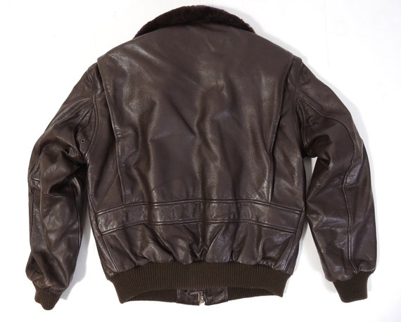 Vintage Brown Leather Flight Aviator Jacket mens … - image 5
