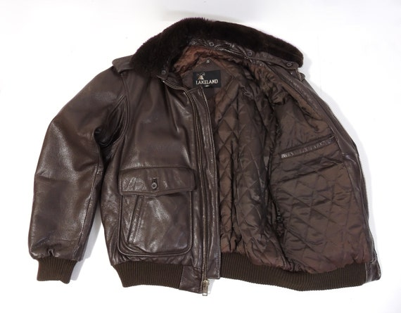 Vintage Brown Leather Flight Aviator Jacket mens … - image 4