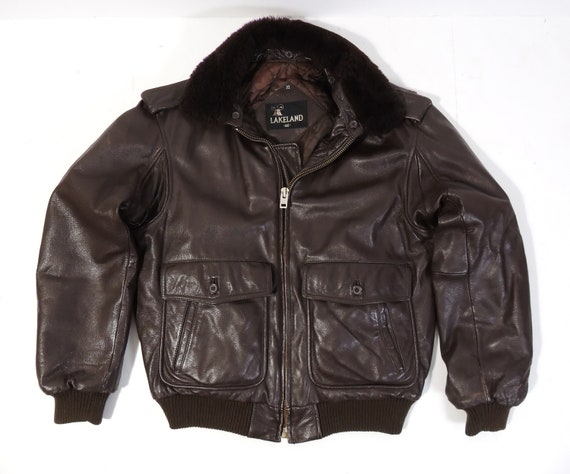Vintage Brown Leather Flight Aviator Jacket mens … - image 3