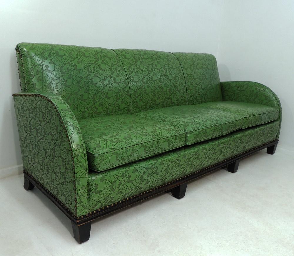 Rare Vintage Art Deco Three Seat Sofa Green Vinyl Nouveau