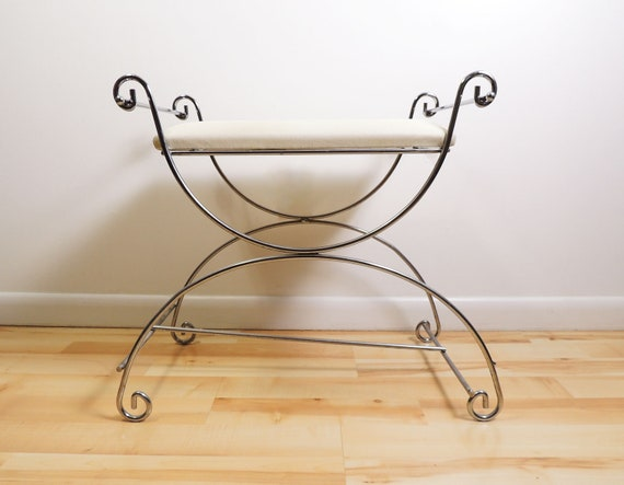 Peachy Wire Metal Frame White Upholstery Vanity Ottoman Chair Andrewgaddart Wooden Chair Designs For Living Room Andrewgaddartcom