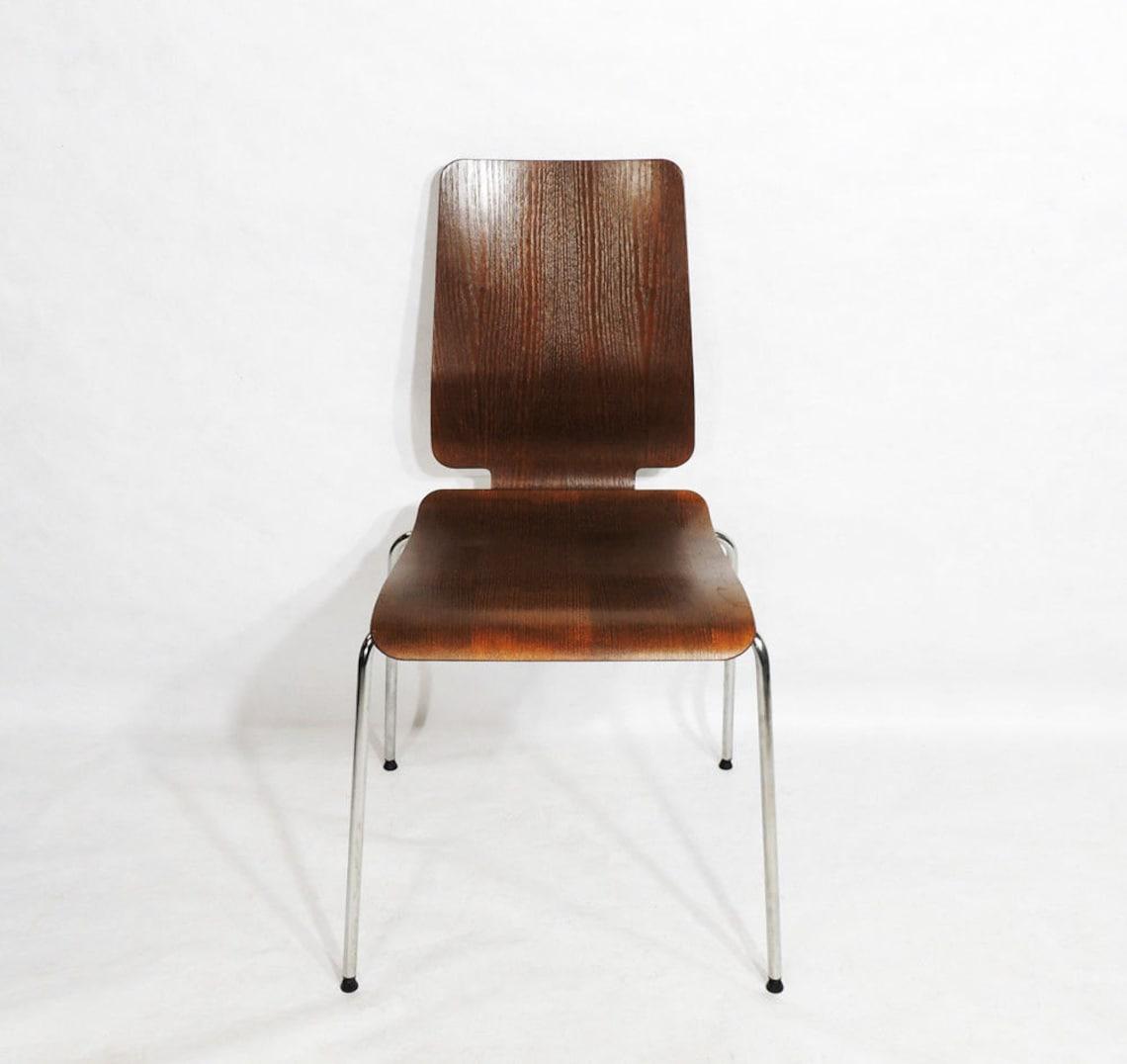 Vintage Modernist Plywood Seat Metal Frame Chair