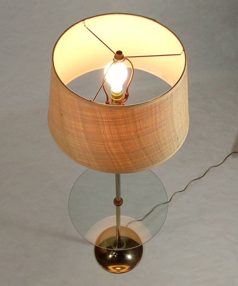 Vintage Mid-Century Modern Metal Laurel Tulip Floor Lamp with Glass Table