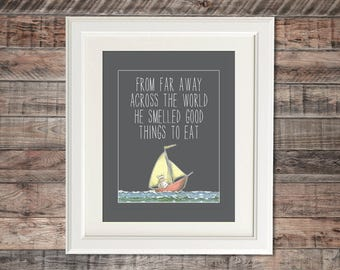 Where The Wild Things Are Inspired Wall Art | Poster Print, any size | From Far Across The World... | Baby Nursery Kid Room Decoration