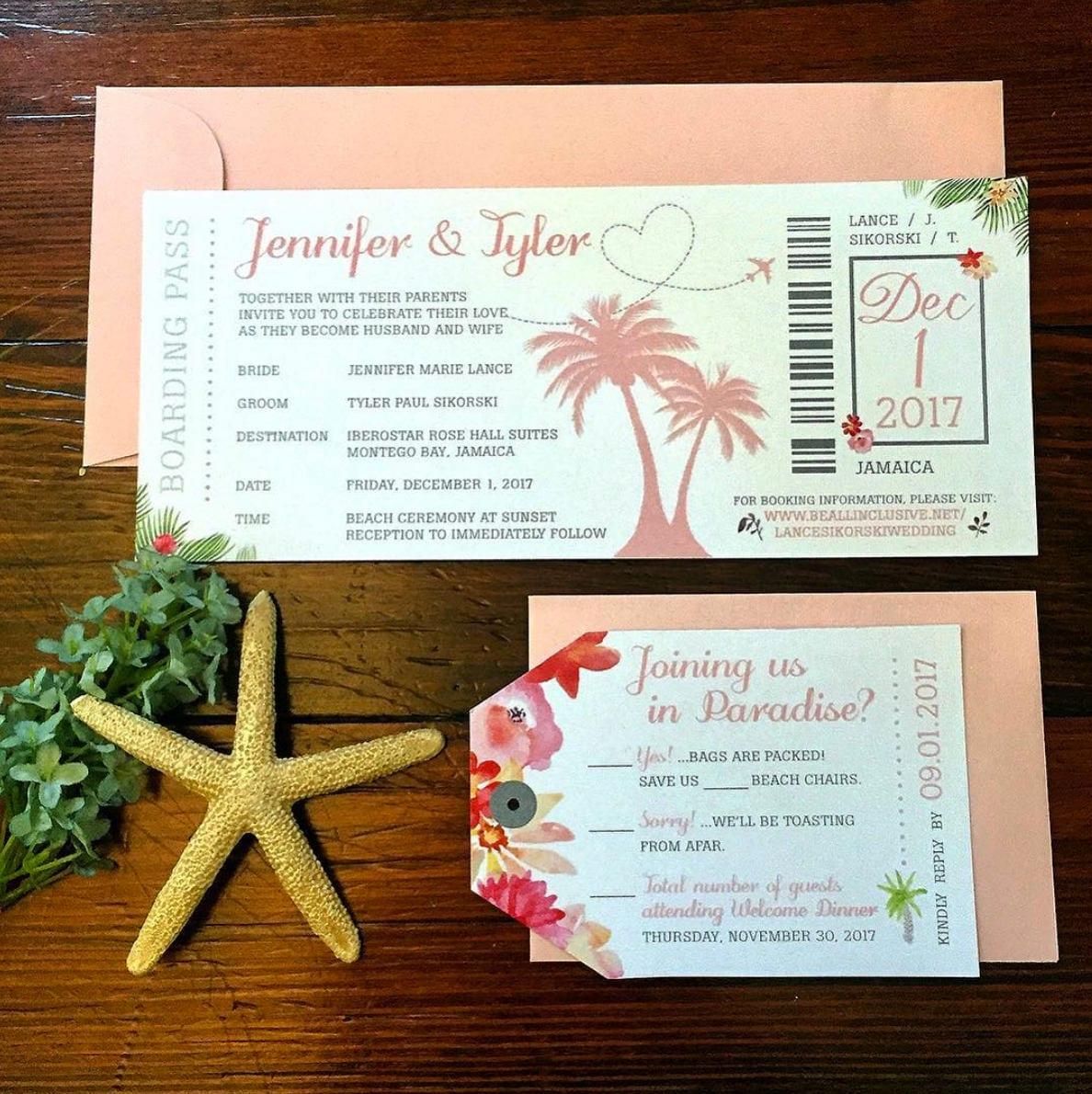 Tropical Watercolor Destination Wedding Invitation Package