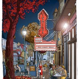 Indiana University Hoosier night IU illustration Poster Graduation Gift 6th st Bloomington Art Print Bloomington IN alley Triptyque